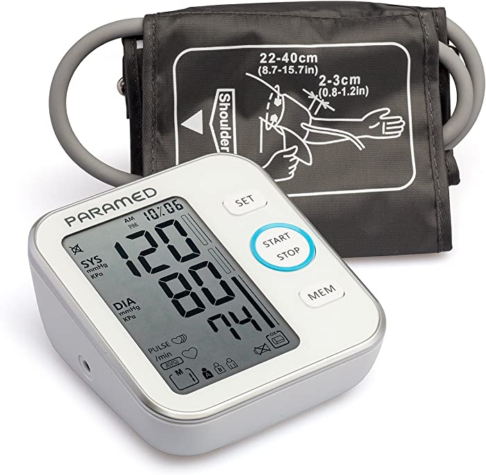 PARAMED Blood Pressure Monitor Accurate Automatic Upper Arm Bp Machine & Pulse Rate Monitoring Meter with Cuff 22-40cm, 120 Sets Memory, LCD & Talking - Device Bag & 4AAA Included