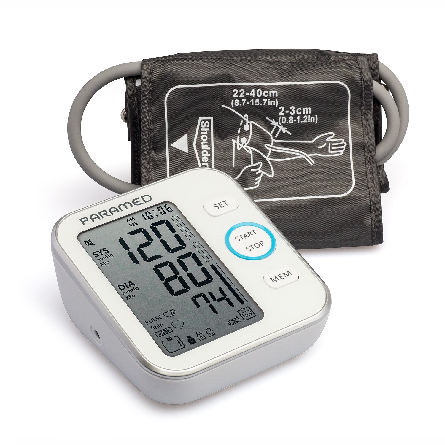Blood Pressure Monitor by Paramed: Accurate Automatic Upper Arm Bp Machine & Pulse Rate Monitoring