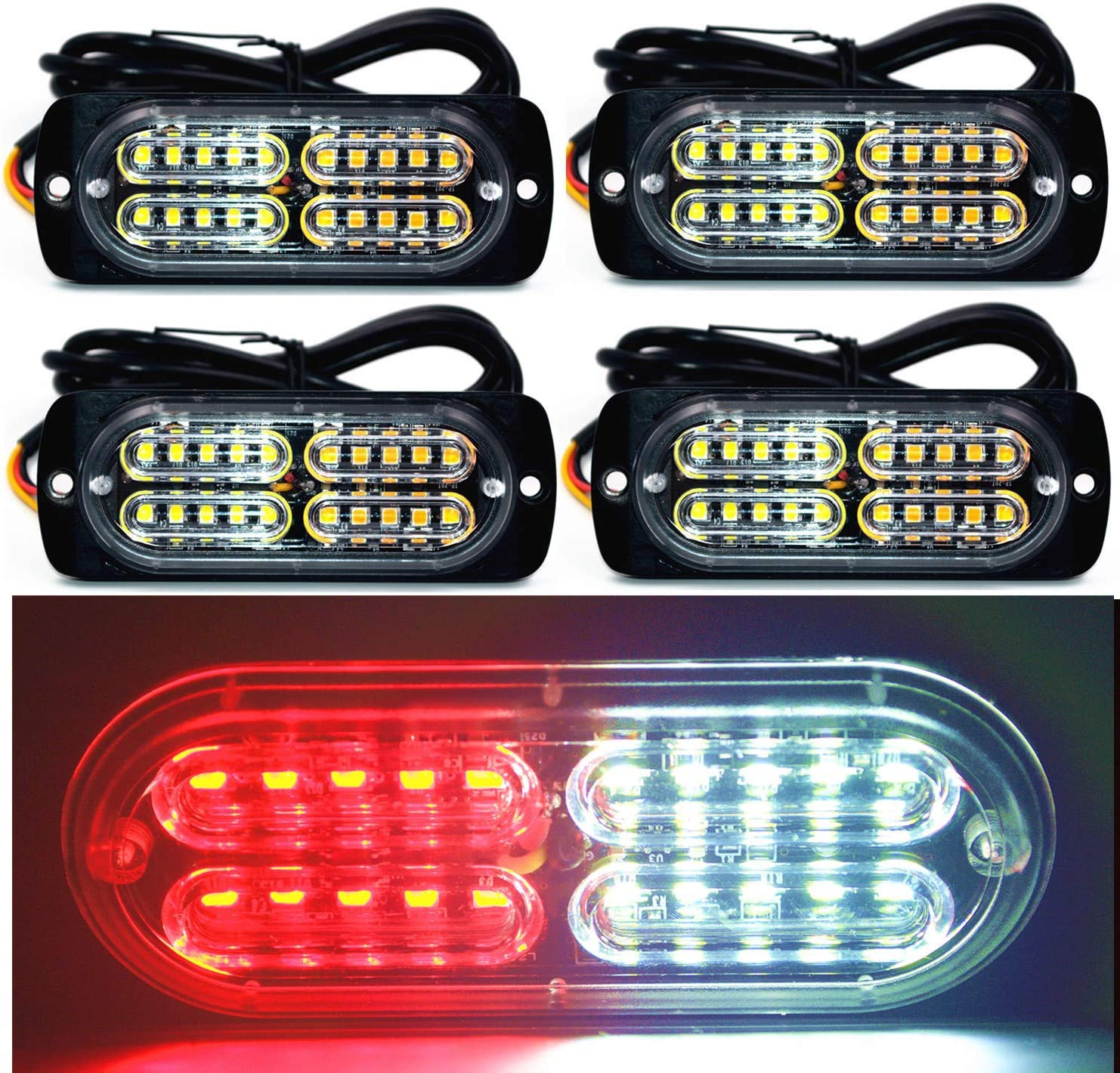 "4 LED 3.5/"" Amber Strobe Emergency Vehicle Grill Side Warn Flash Light Bar 12//24V"