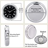 "ShoppeWatch Mini Clock Insert Quartz Movement Round 1 7/16"" (35mm) Miniature Clock Fit Up Black Face Silver Tone Bezel Roman Numerals CK086SL"