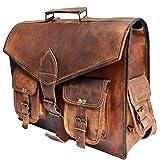 """16"""" Genuine Leather messenger bag for men convertible laptop backpack shoulder bag"""