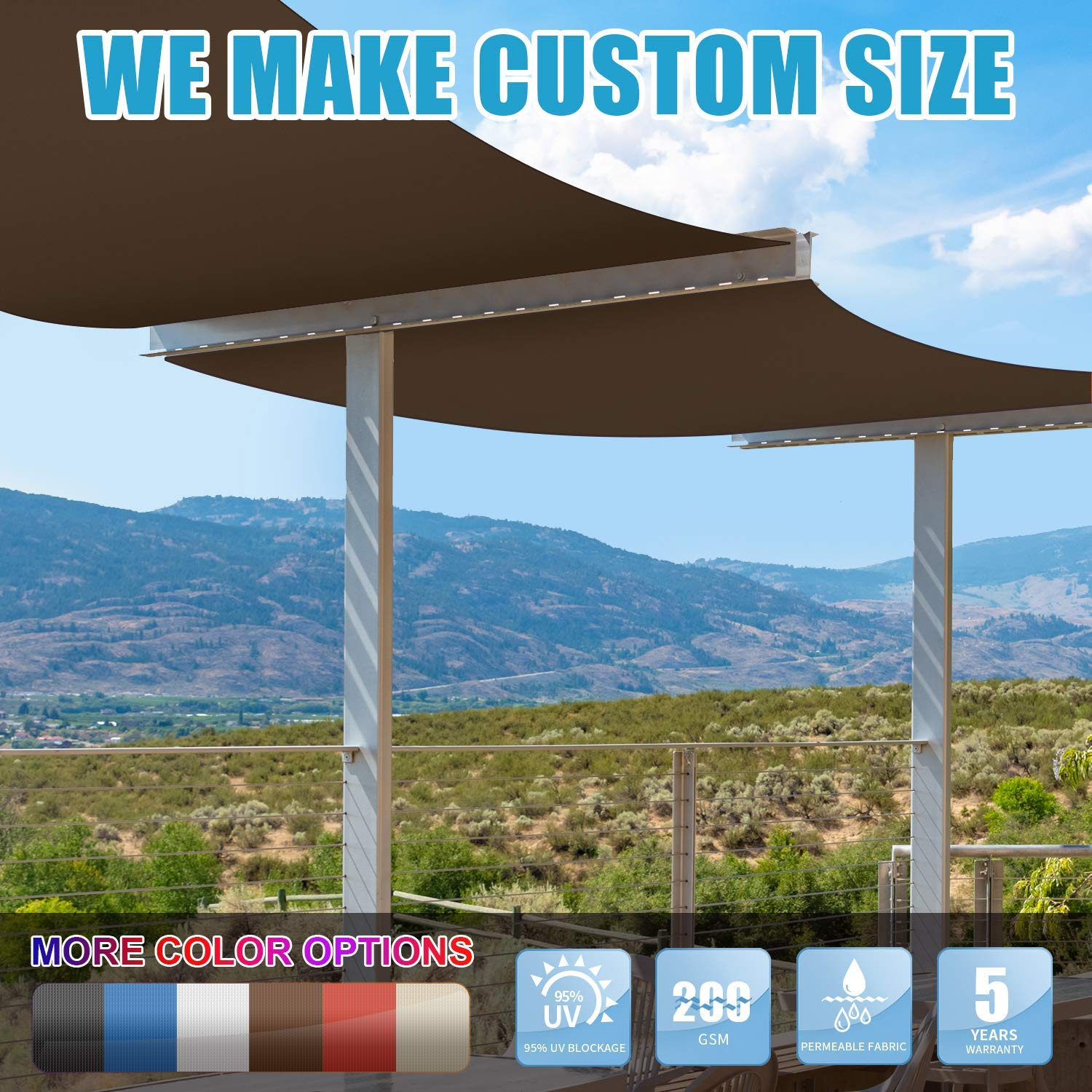 Amgo Custom Size 12 x 16 Brown Rectangle Sun Shade Sail Canopy Awning, 95 UV Blockage, Water Air Permeable, Commercial and Residential, 5 Years Warranty Available for Custom Sizes
