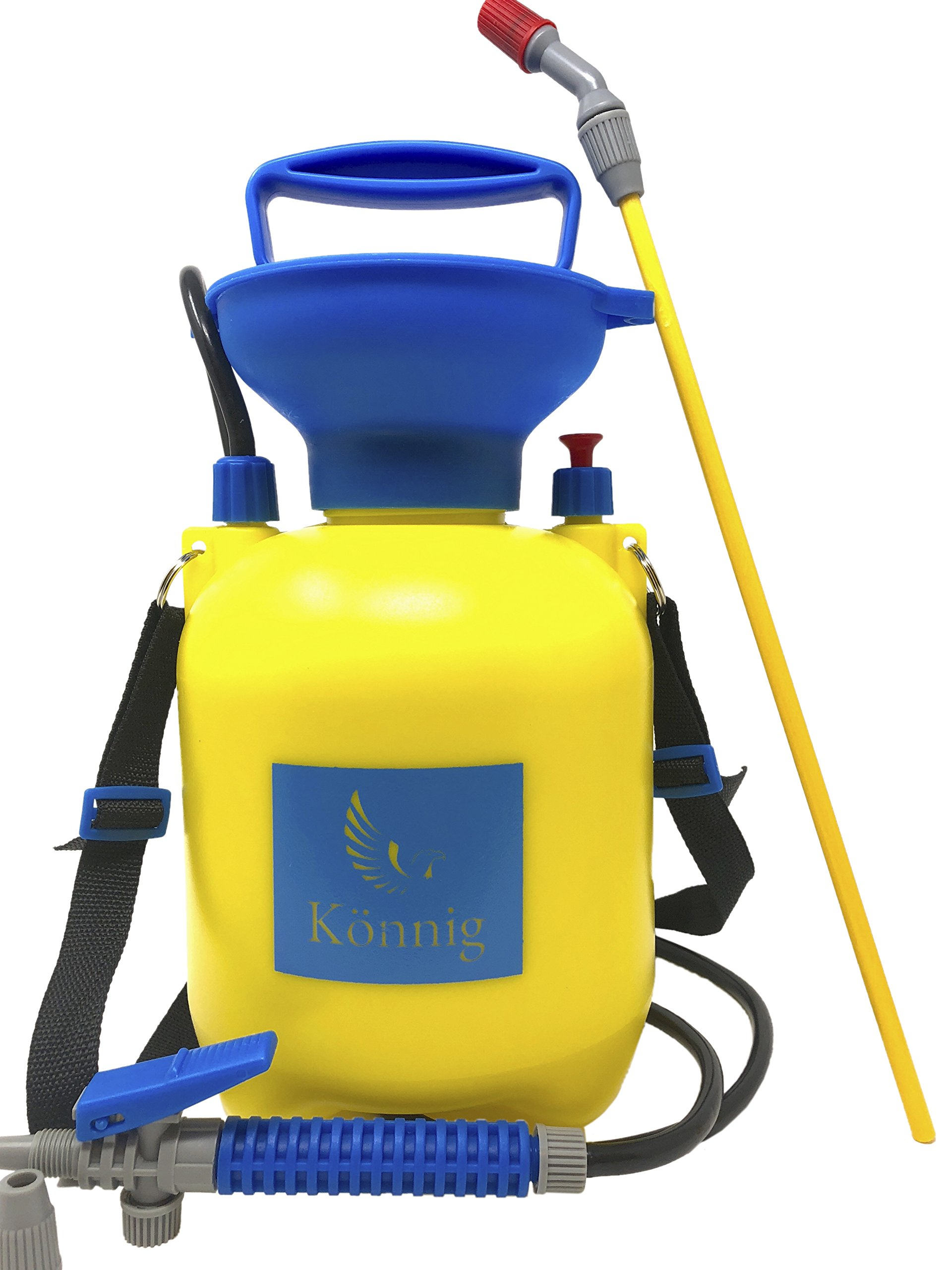 Könnig Lawn and Garden Sprayer 1.3 gallon - Portable Pump Pressure Weed Killer with Nozzle for Water, Pesticides, Chemicals - 1 FREE Pair of One-size Garden Gloves by Könnig