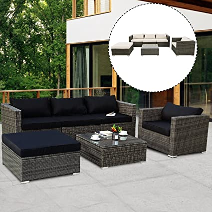 Beau TANGKULA 6PCs Patio Rattan Furniture Set Modern Outdoor Garden Lawn Wicker  Rattan Sofa Set PE Gray