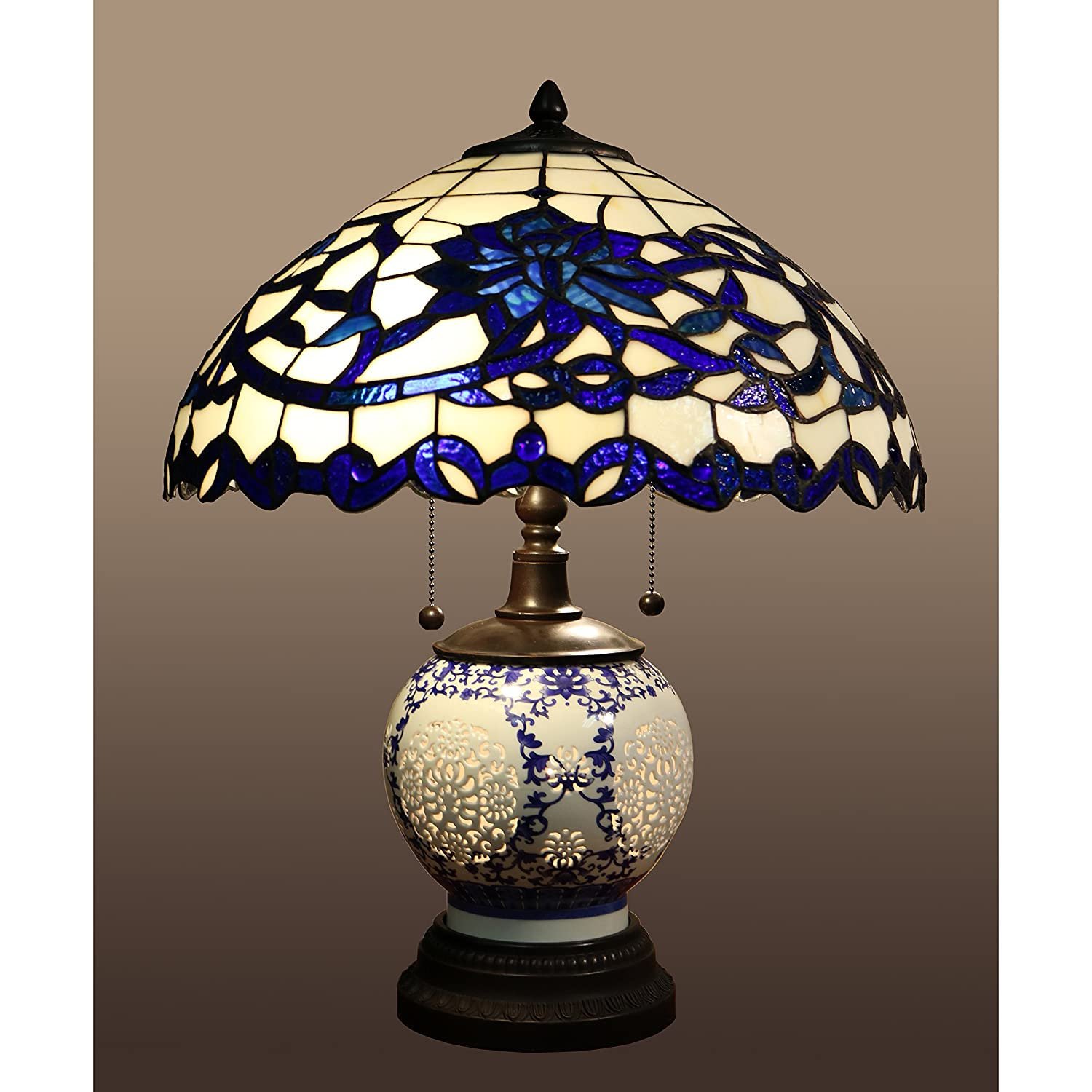 Beautiful And Elegant Indoor Flower Design Akiko 3 Light Blue Glass 21 Inch  Double Lit Tiffany Style Table Lamp   DYL451 743. Stained Glass Table Lamp.