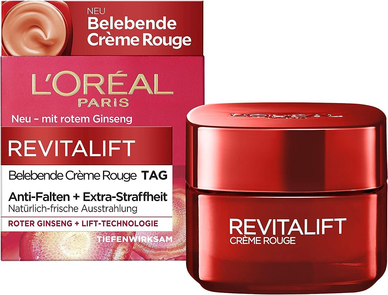 L'Oréal Paris Revitalift - Crema de día con ginseng rojo, alisa la piel y proporciona una apariencia fresca natural, 50 ml