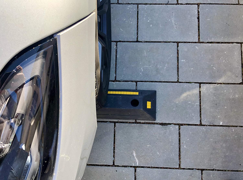 2 unidades color negro y amarillo dimensiones 55 x 15 x 9 cm Tope de rueda de goma para aparcamiento y garajes KIRNER/®