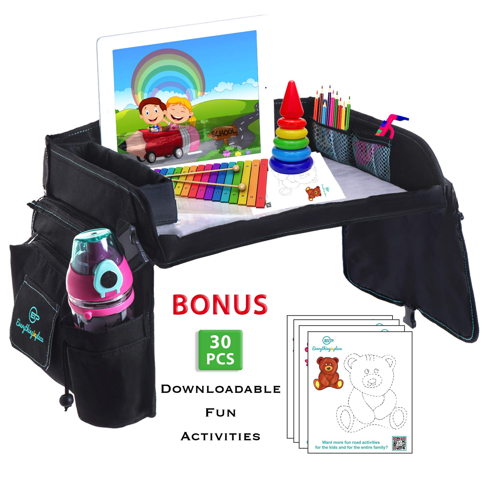 Kids Travel Play Tray for Car Seat with Dry Erase Top, Bonus 30 Downloadable Educational Drawing by EverythingINplace