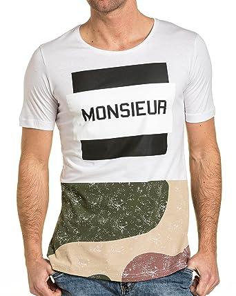 aafaae74424af BLZ Jeans - Tee-Shirt stylé Homme Blanc Oversize imprimé: Amazon.fr:  Vêtements et accessoires