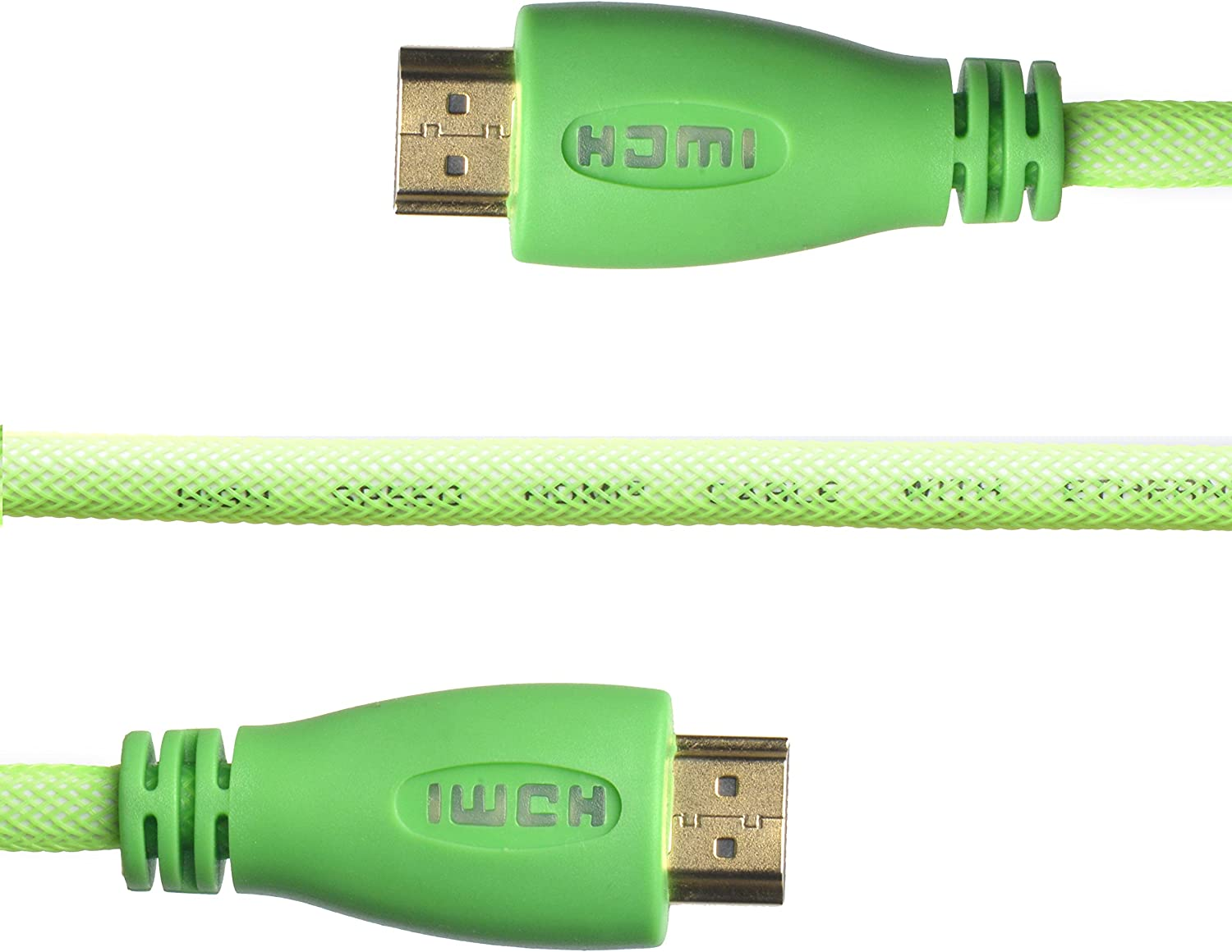 WGGE LED HDMI Cable 2.0 High speed, Nylon braiding, HDMI(19 PIN by copper wire), Gold connectors, Support 4k 1080p 3D TV, Ethernet, Home theater, HDTV, XBOX and set-top boxes (10 feet, GREEN)