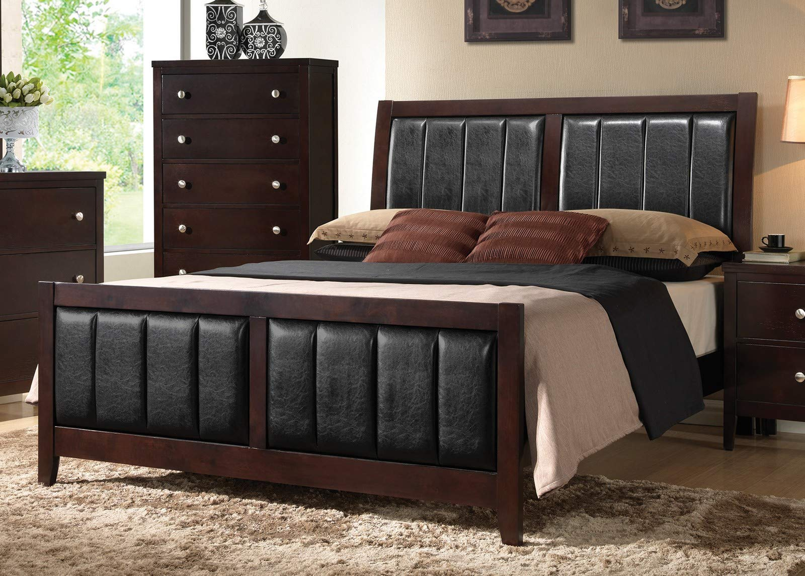 Coaster Home Furnishings 202091Q Upholstered Bed, Black/Cappuccino