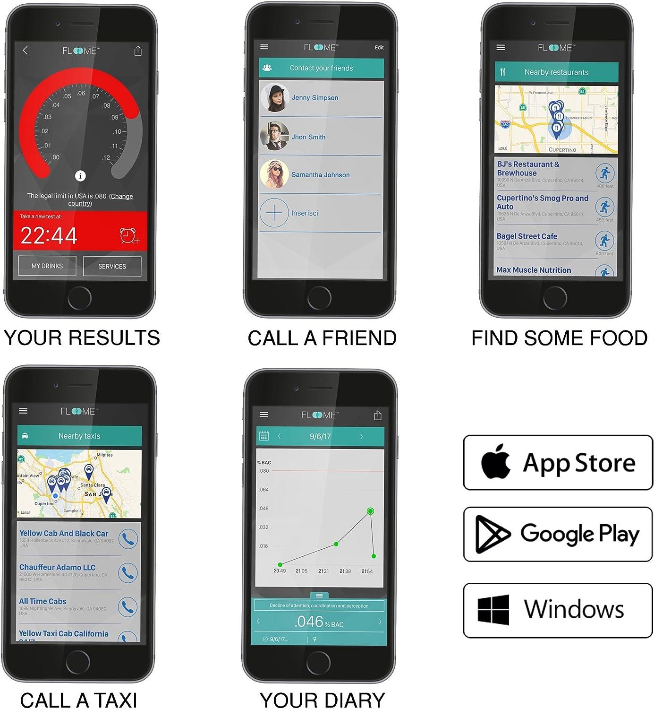 Floome IT Test de alcoholemia preciso y fiable en un Objeto de Dise/ño alcohol/ímetro para el Smartphone