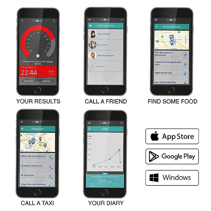Amazon.es: Floome IT, alcoholímetro para el smartphone hecho en Italia, test de alcoholemia preciso y fiable en un objeto de Diseño