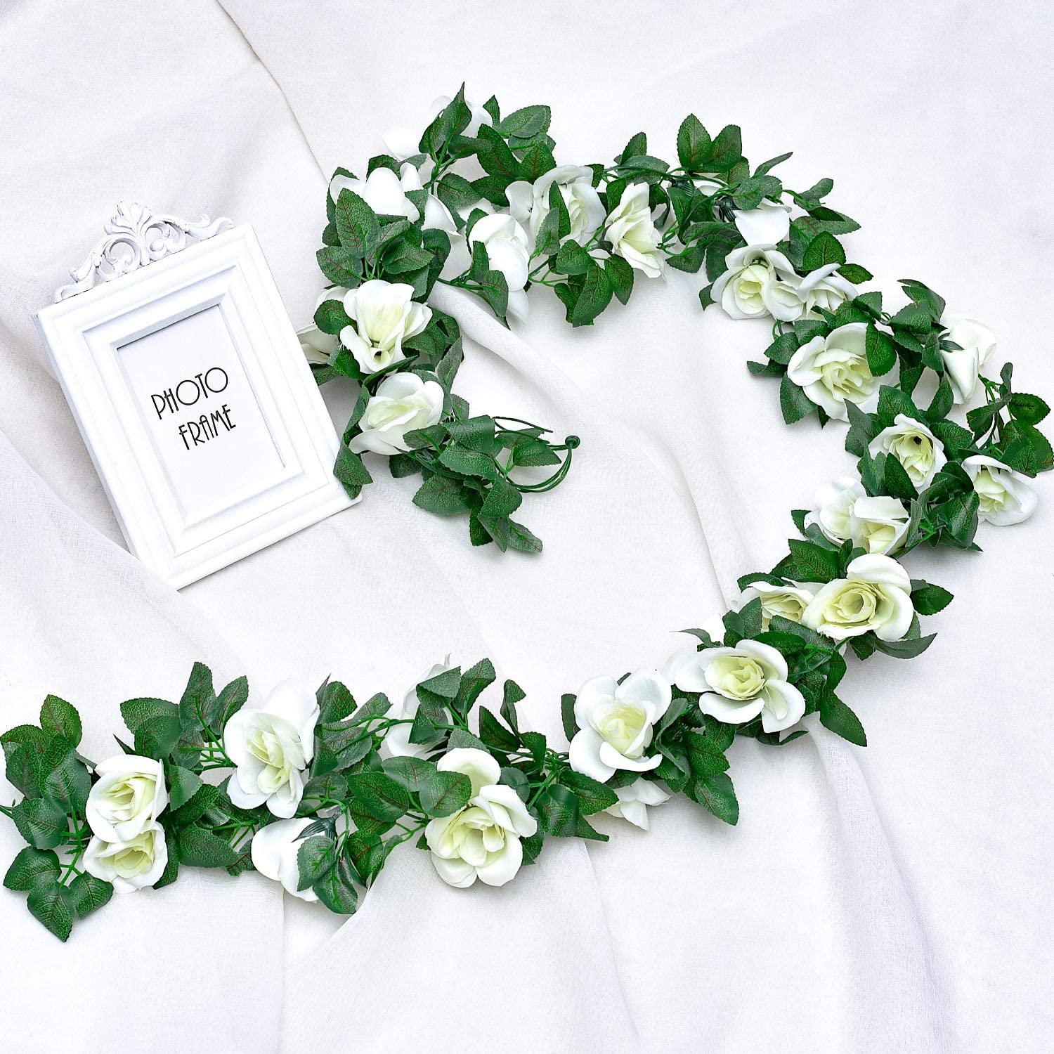 Whaline 2 Pack Fake Rose Vine Flowers Plants 15ft White Artificial Flower Hanging Rose Garlands For Home Hotel Office Wedding Party Garden Craft Art Decor Arch Arrangement Decoration Amazon Co Uk Kitchen Home