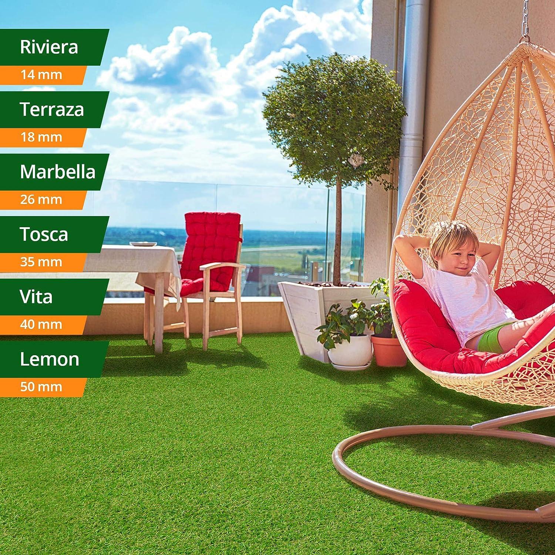 Gr/ün, 200x150 cm wetterfest /& schnelltrocknend casa pura/® Komfort Kunstrasen mit Noppen Rasenteppich f/ür Terrasse Balkon und Freizeit Meterware