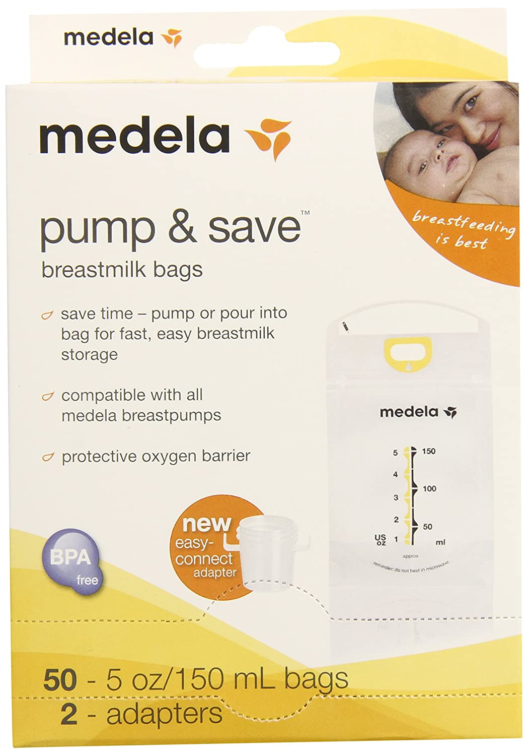 Medela Pump and Save Breast Milk Bags, 50 Count 87234
