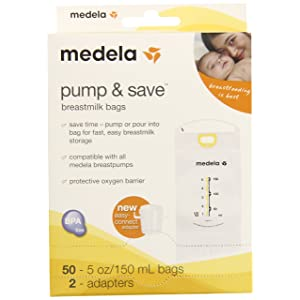 Medela Pump & Save Breastmilk Bags with easy connect adapters 50 pack