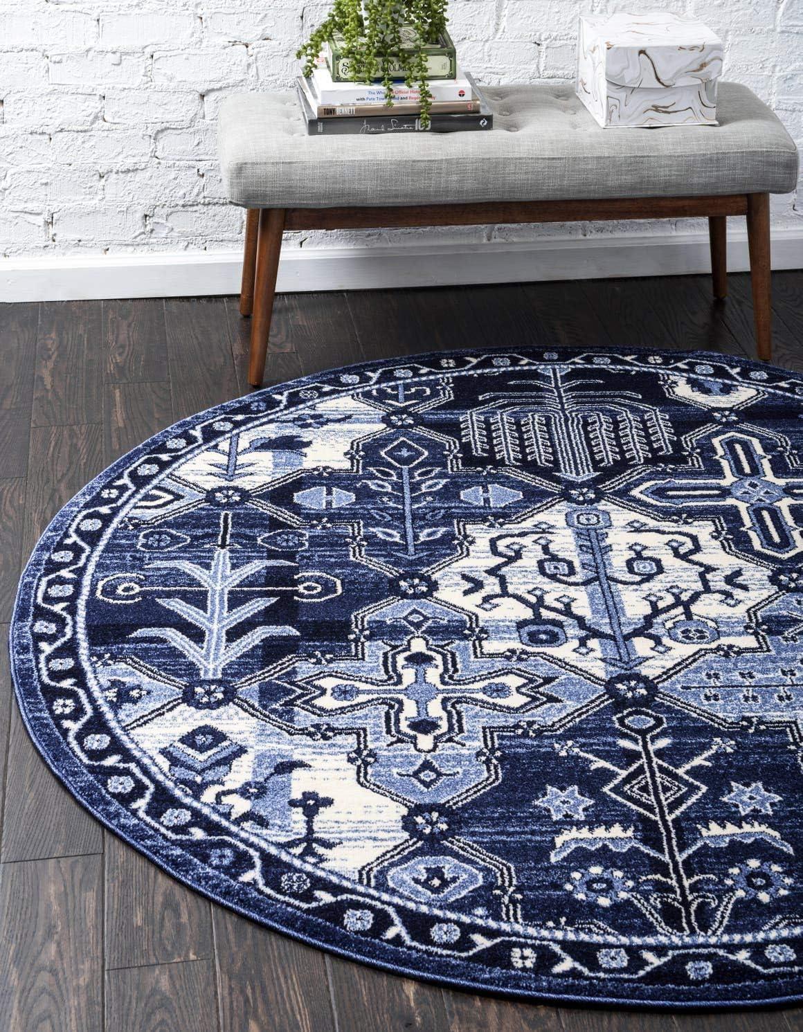Unique Loom La Jolla Collection Tone-on-Tone Traditional Blue Round Rug 6 0 x 6 0