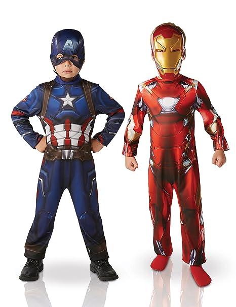 Marvel I-620775S – Paquete con dos disfraces (Iron Man y Capitán América)