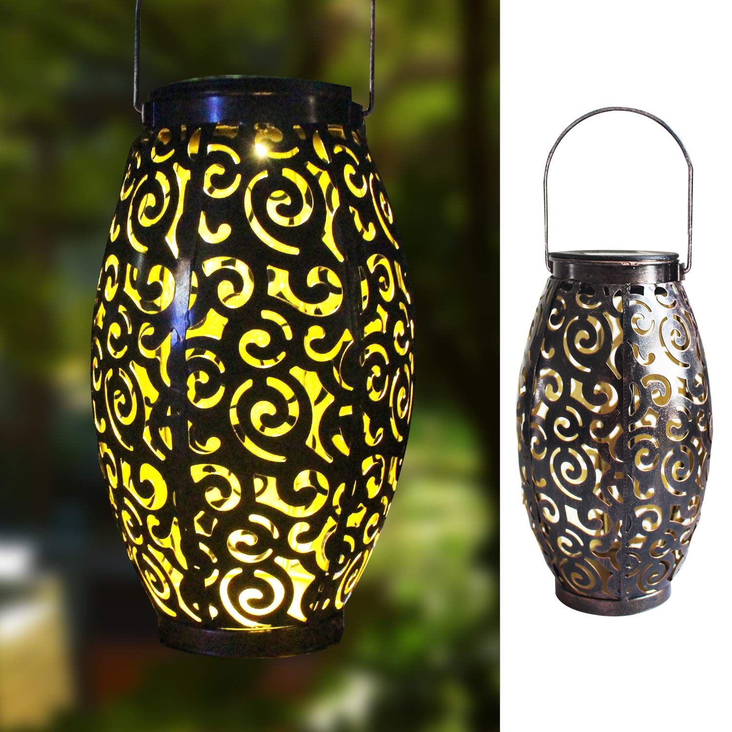 Hanging Solar Lights Outdoor Solar Lanterns Retro Hanging Solar Lantern Garden Outdoor Lights with Handle, Metal Waterproof LED Table Lamp Decorative for Porch Garden Patio Backyard Courtyard Pathway