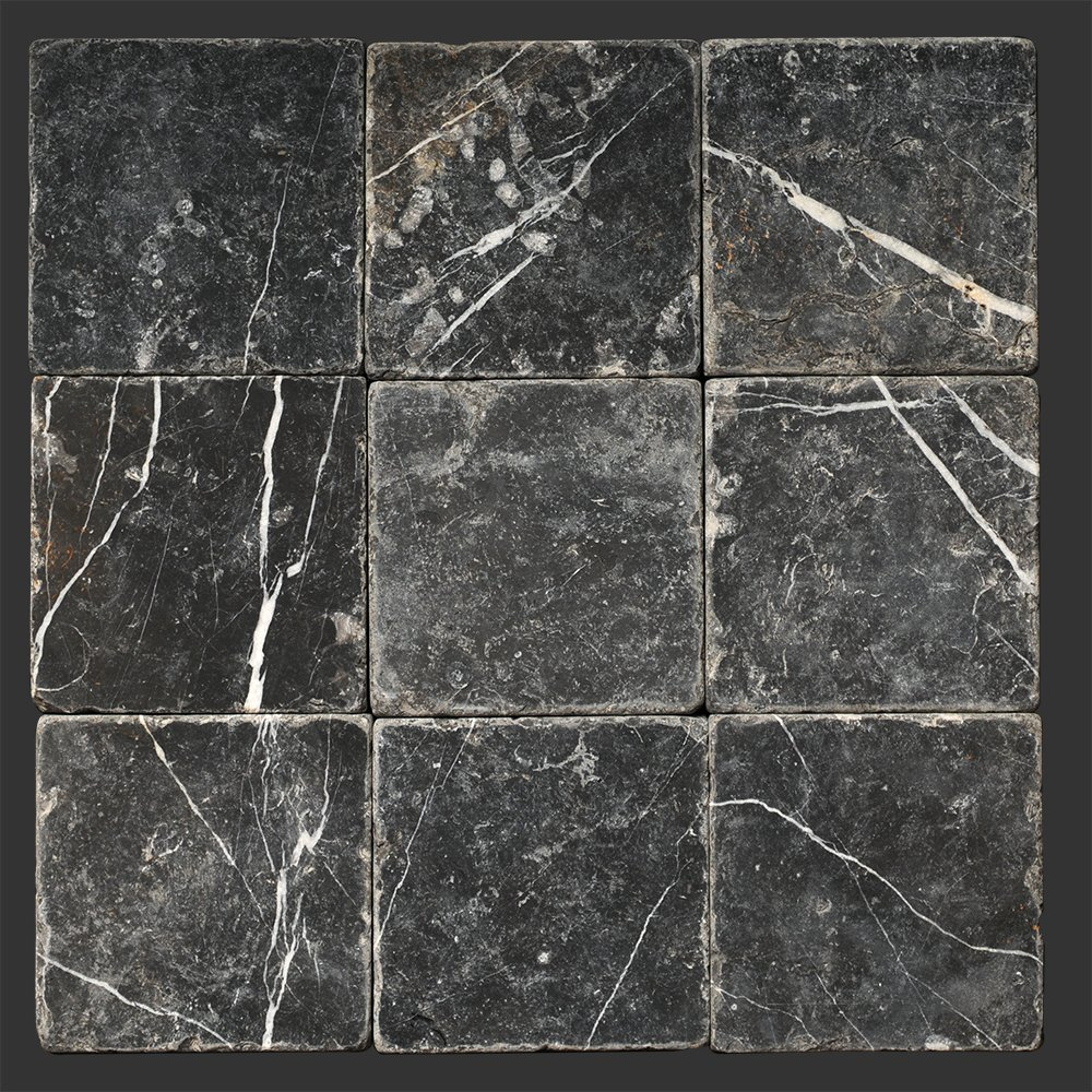 Taurus Black Marble 4'' x 4'' Tumbled Field Tile - (box of 5 sq. ft.)