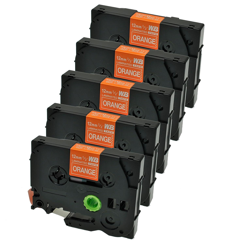 Logic-Seek 5 Schriftb/änder kompatibel f/ür Brother TZE-635 P-Touch 1000 1010 1080 1090 1200 1200P 1230PC 1250 1280 1290 1750 1800 1850 200 220 2400 2450 2460 2470 2480 12mm//8m Wei/ß auf Orange