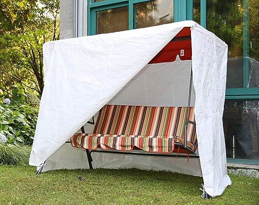 Angel Living Premium Balancín Protectora, Funda de Tela Revestimiento de PVC, con 2 Cremalleras, 171x112x151cm (Blanco): Amazon.es: Jardín