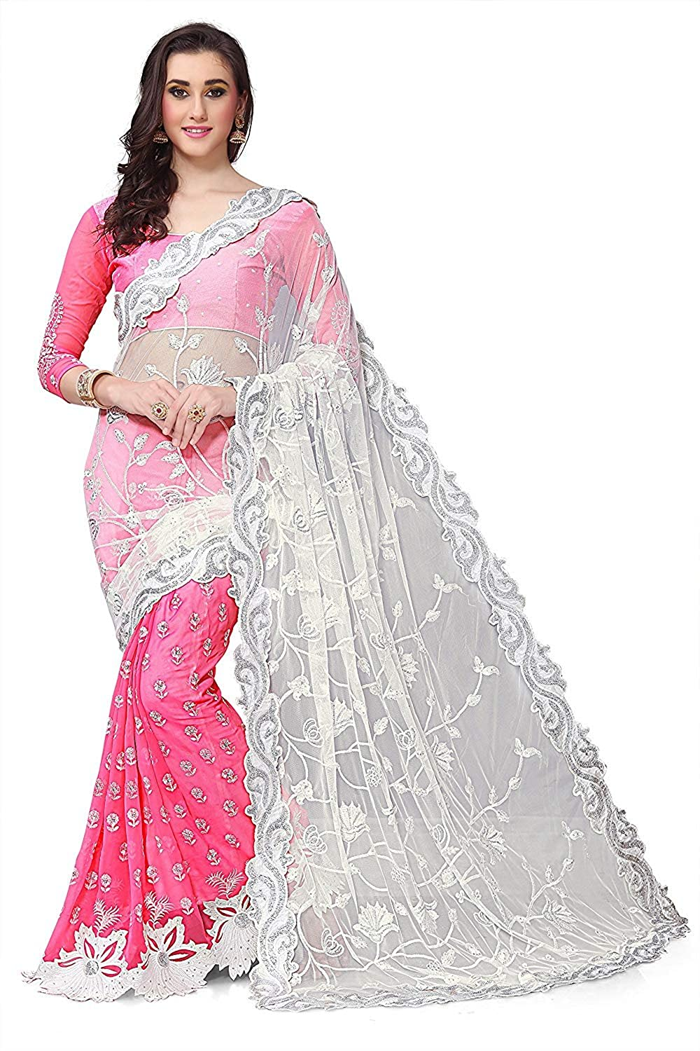 Diva   Diya Georgette Saree With Blouse Piece (ZoyaPink Pink Free Size)   Amazon.in  Clothing   Accessories 21500460e