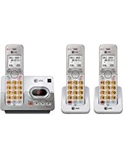 AT&T DECT 6.0 3 Cordless Phones with Caller ID, ITAD, Handset Speakerphones, White and Grey