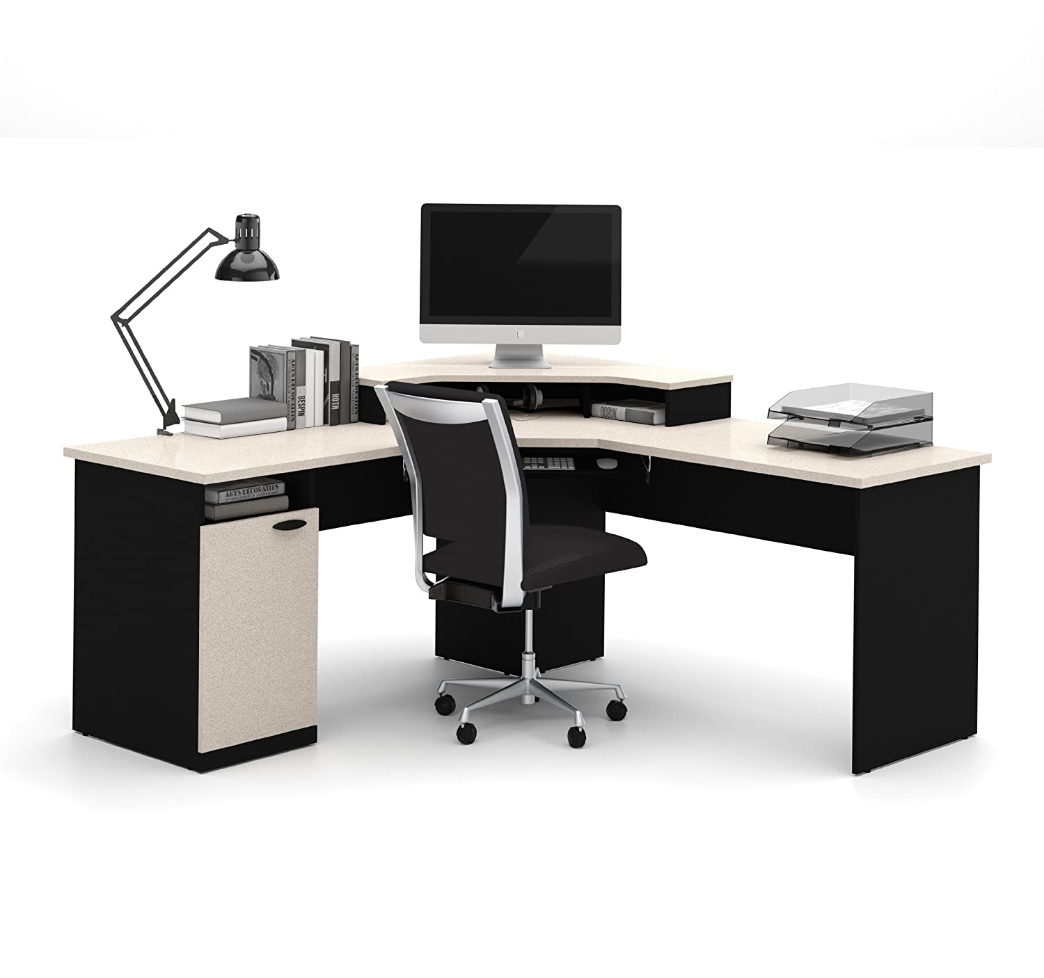 home office corner workstation desk amazoncom bestar hampton corner workstation in sand granite amp charcoal kitchen chic corner office desk oak corner desk