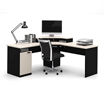 office corner workstation. bestar hampton corner workstation in sand granite u0026 charcoal office e