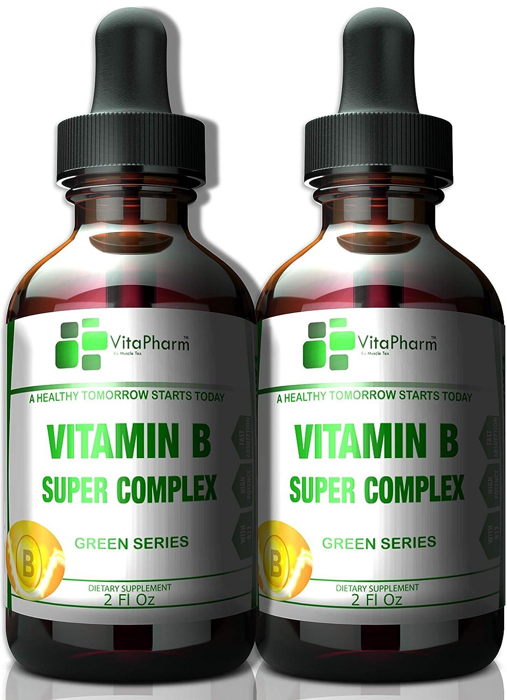 (2 Pack) Vitamin B Super Complex | Fast Absorption Liquid Drops. High Potency. B2,B3,B5,B6 and B12 Vitamins. Stress and Anxiety. More Than B12 1000 mcg. Sugar,Wheat,Yeast & Lactose Free!…