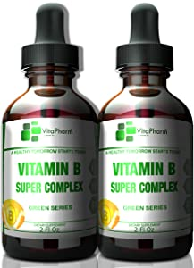 (2 Pack) Vitamin B Super Complex   Fast Absorption Liquid Drops. High Potency. B2,B3,B5,B6 and B12 Vitamins. Stress and Anxiety. More Than B12 1000 mcg. Sugar,Wheat,Yeast & Lactose Free!…