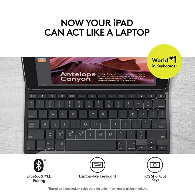 Logitech iPad Slim Folio: Case with Wireless Keyboard with Bluetooth  (Black) - iPad 5th and 6th generation (2018 release)