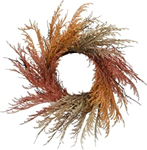 RED DECO Fall Reed Floral Welcome Wreath for Front Door - 22-24 inch Artificial Autumn Rustic Door Wreaths for Thanksgiving Halloween Home Farmhouse Window Wall Decor All Seasons