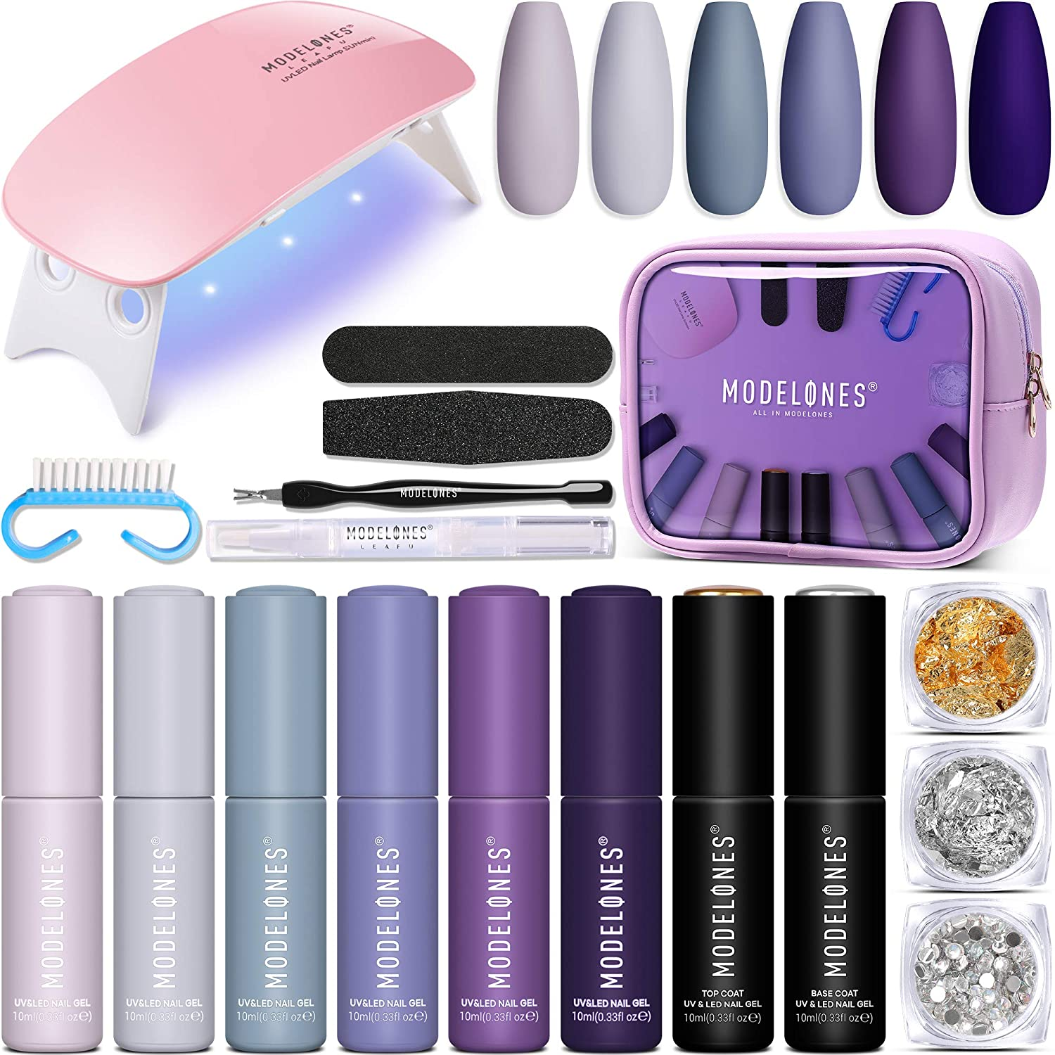 Gel Nails Kit with Light - 6 Colors Gel Nail Polish Kit 10ml, Soak Off Gel Nail Polish Set with U V Light, 10ml Base and Top Coat, Manicure Gel Nail Kit for Beginner, Shellac Nail Kit by Modelones