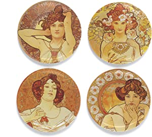 """Buttonsmith Mucha Gemstones Magnet Set - Set of 4 1.25"""" Magnets - Made in the USA"""