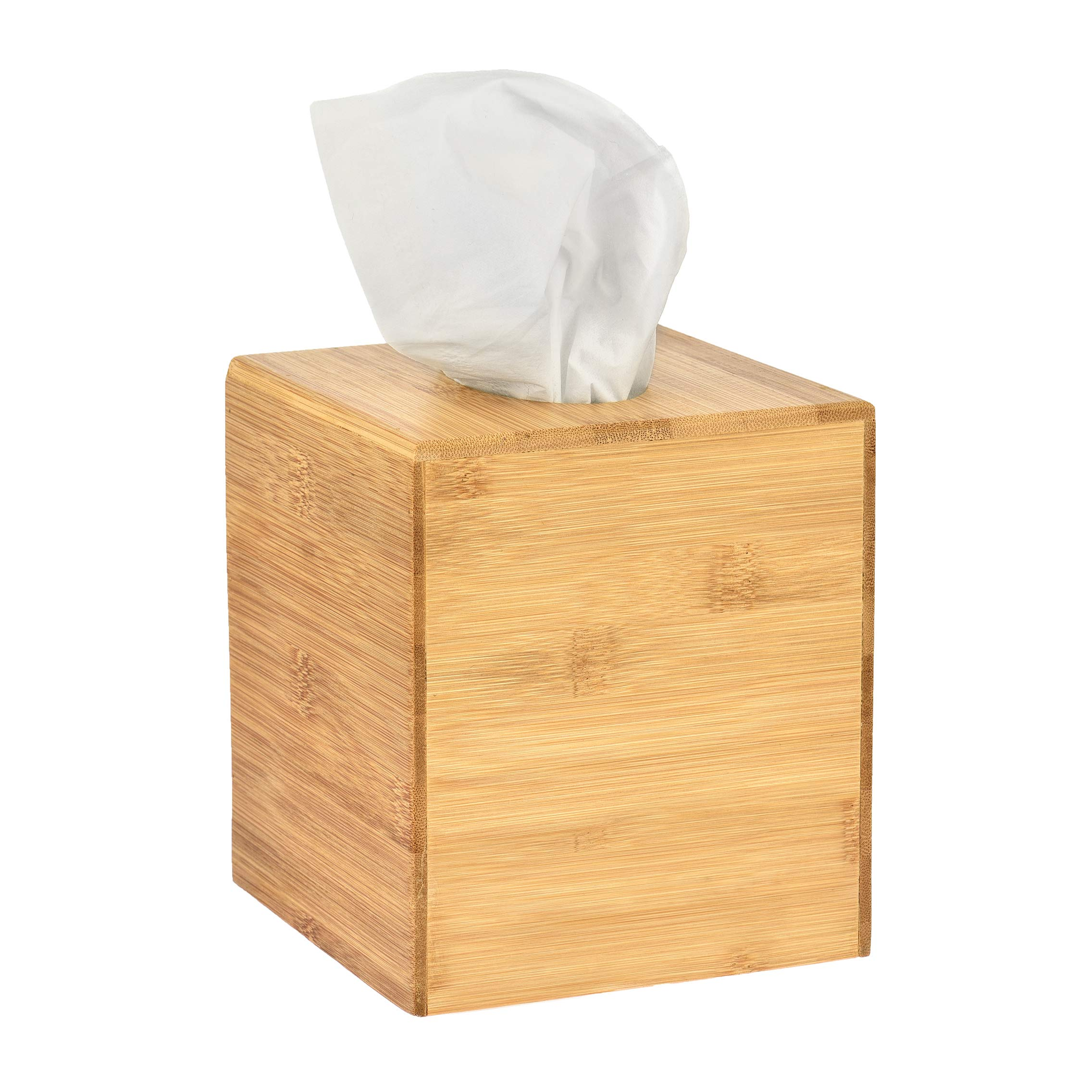 Alpine Industries Wooden Bamboo Square Tissue Box Cover - Eco Friendly Pull Cube Dispenser - Decorative Holder/Organizer for Bathroom, Office Desk & Car (Bamboo) by Alpine