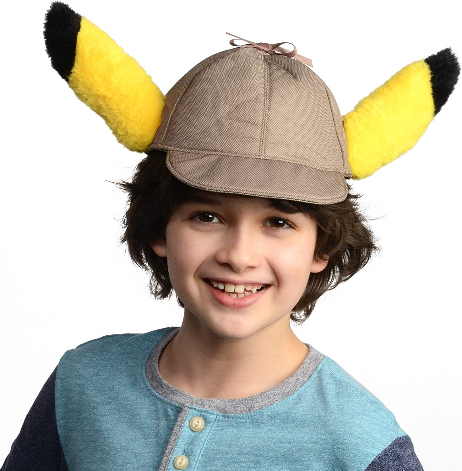 Amazon Com Pokemon Detective Pikachu Movie Hat With Ears Perfect For Costumes Dress Up And Halloween One Size Fits Most Age 4 Toys Games