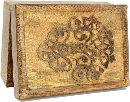 Piquaboo - Caja de Almacenamiento de Tarot de Madera Maciza con Anclaje Celta (18 x 13 cm): Amazon.es: Hogar