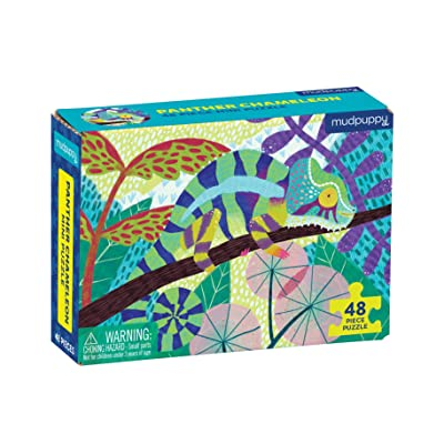 """Mudpuppy Panther Chameleon Mini Puzzle, 48 Pieces, 8"""" x 5.75"""" – Perfect Family Puzzle for Ages 4+ – Features a Colorful Illustration of a Panther Chameleon, Informational Insert Included: Toys & Games"""