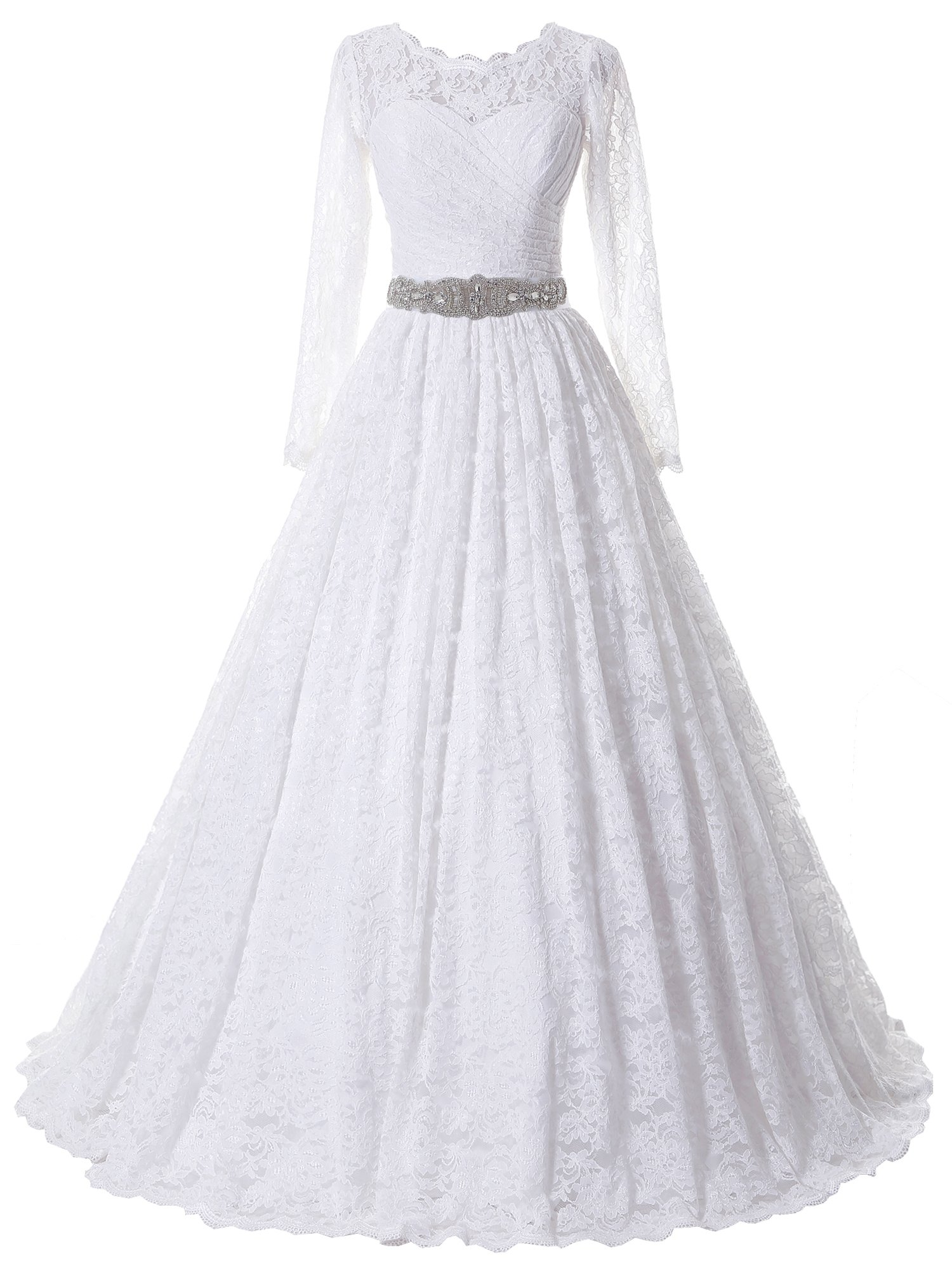 SOLOVEDRESS Women's Ball Gown Lace Princess Long Sleeves Wedding Dress Sash Beaded Bridal Gown (US 20 Plus,White)