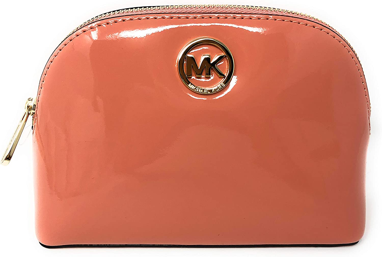 Michael Kors Fulton Patent Leather Cosmetic Travel Pouch in Peach