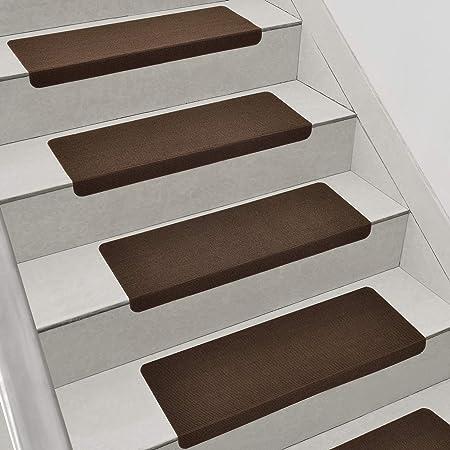 en.casa] Set de 15x Alfombrillas para peldaños 280 g/m² Alfombrillas de Escalera Autoadhesivo Cuadrado Marrón: Amazon.es: Hogar