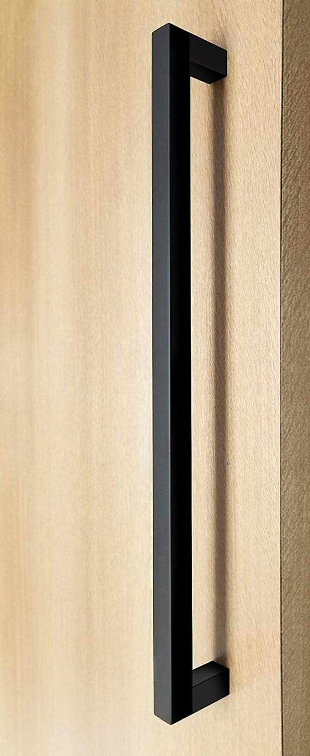 Interior//Exterior 48 inches Modern /& Contemporary 1 x 1 inch Square Shape Handle Matte Black Powder Finish Push-Pull Stainless-Steel Door Handle