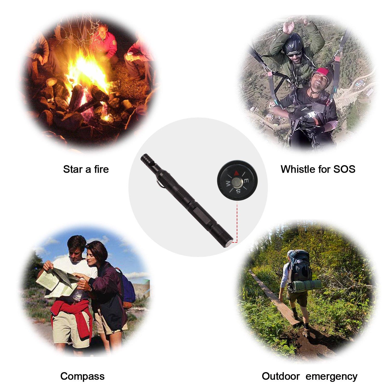 Startostar pedernal de magnesio para encender fuego Kit con silbato, rascador, brújula, llavero para camping al aire libre, senderismo, caza: Amazon.es: ...