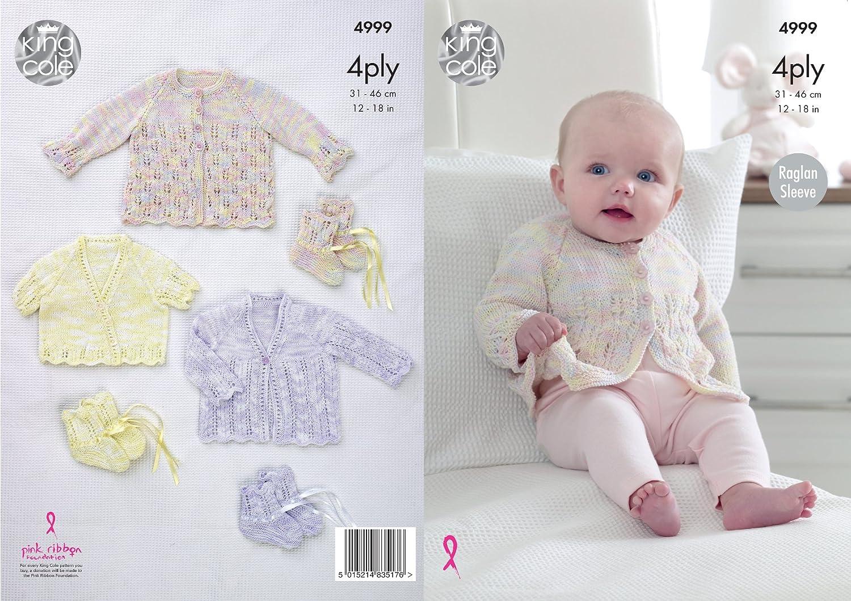 King Cole 4999 patrón para tejer bebé Raglan Cardigans y patucos en ...