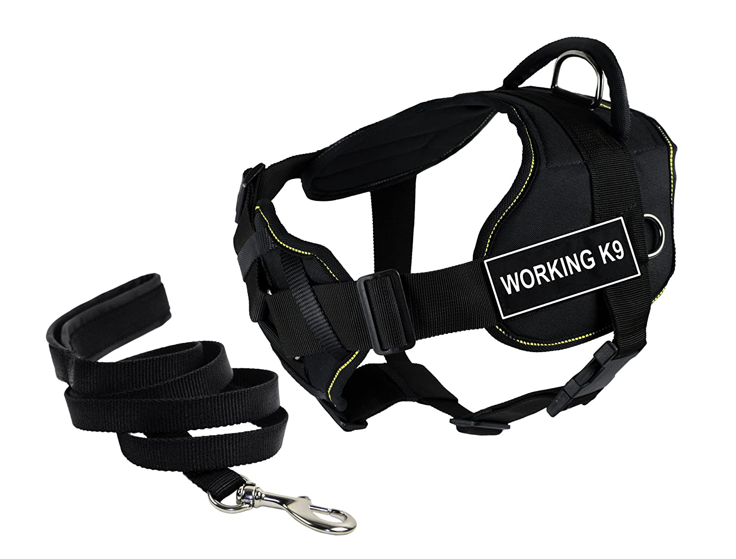 Dean & Tyler's DT Fun Chest Support WORKING K9 Harness, Large, with 6 ft Padded Puppy Leash.