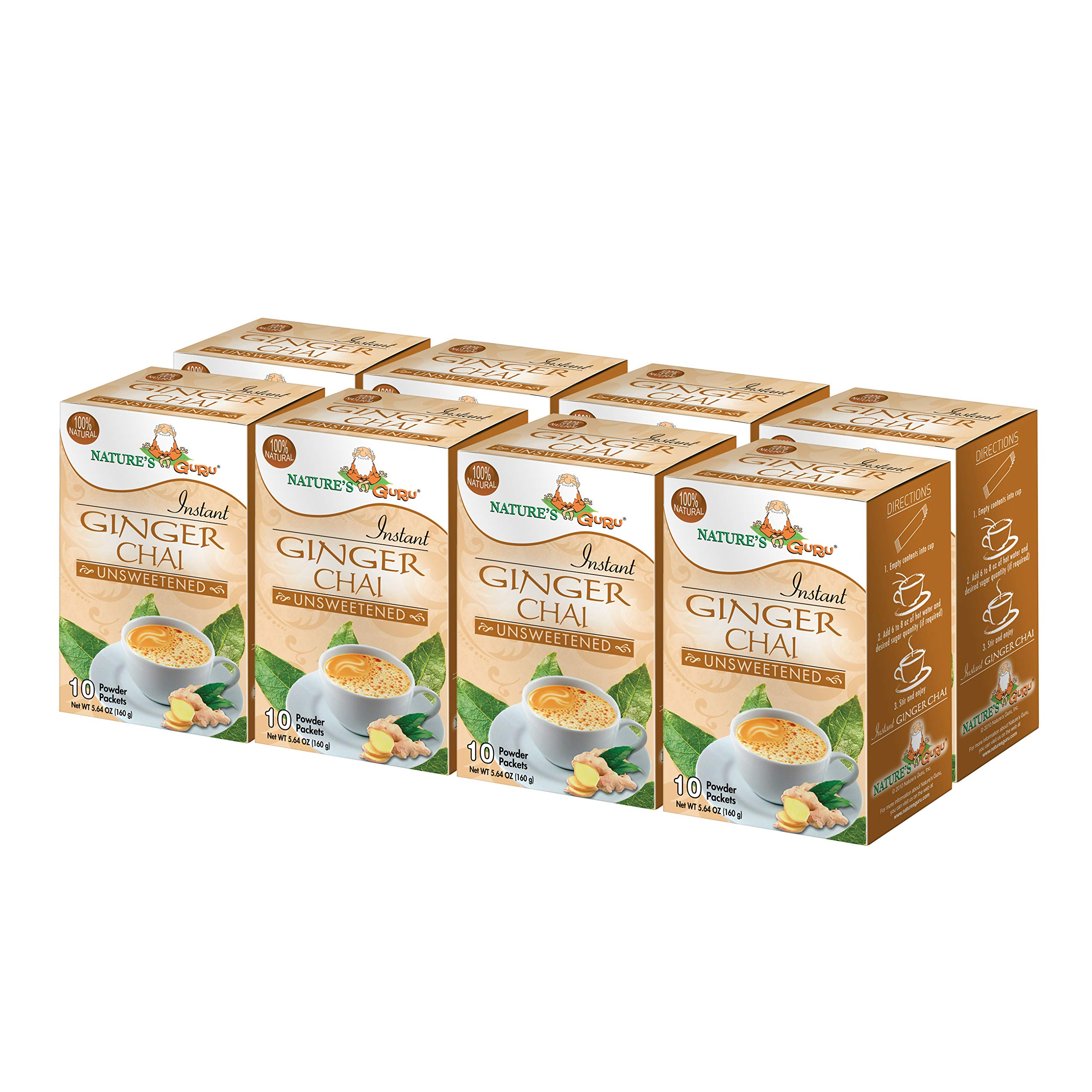 Nature's Guru Instant Ginger Chai Tea Drink Mix, Unsweetened, 10 Count Single Serve On-the-Go Drink Packets (Pack of 8)