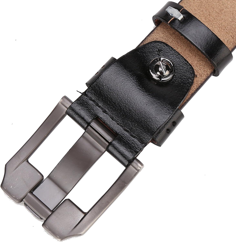 Bison Denim Mens Belt Leather Waistband Casual Alloy Buckle Belts
